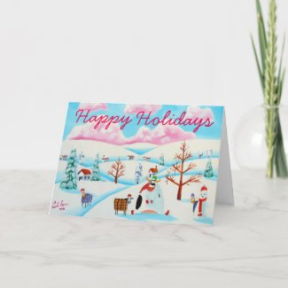 Happy Holidays Christmas Animals in the snow Holiday Card