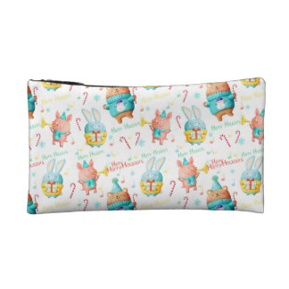 Happy Holidays Christmas Animals Pattern Cosmetic Bag