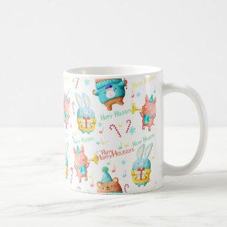 Happy Holidays Christmas Animals Pattern Coffee Mug