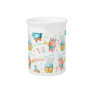 Happy Holidays Christmas Animals Pattern Drink Pitcher