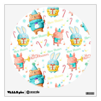 Happy Holidays Christmas Animals Pattern Wall Decal