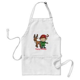 Happy Holidays Christmas Apron Elf Reindeer