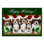 Happy Holidays Christmas beagle puppies card