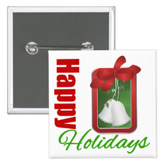 Happy Holidays Christmas Bells Pinback Button