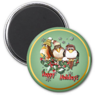Happy Holidays Christmas Birds-Magnets