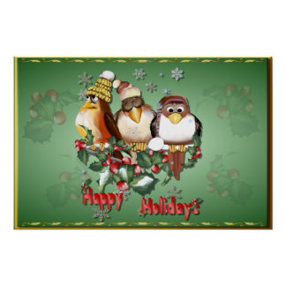 Happy Holidays Christmas Birds-Posters Poster