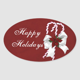Happy Holidays Christmas Candy Canes Oval Sticker