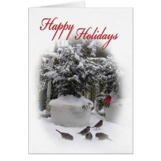 Happy Holidays Christmas card with Cardinal