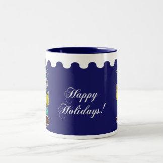 Happy Holidays - Christmas Carol Mice Blue Two-Tone Coffee Mug