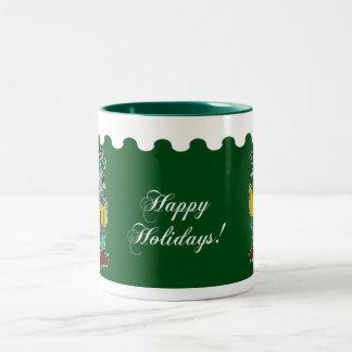 Happy Holidays - Christmas Carol Mice Green Two-Tone Coffee Mug