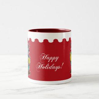 Happy Holidays - Christmas Carol Mice Red Two-Tone Coffee Mug
