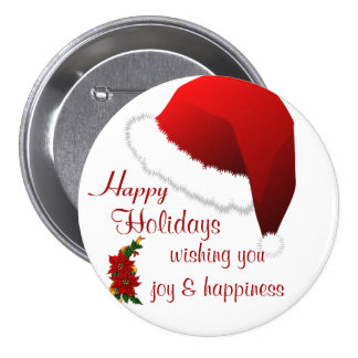 Happy holidays Christmas Cheers 2_ Pinback Buttons