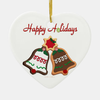 Happy Holidays Christmas Cookie Bells Double-Sided Heart Ceramic Christmas Ornament