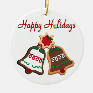 Happy Holidays Christmas Cookie Bells Double-Sided Ceramic Round Christmas Ornament