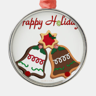 Happy Holidays Christmas Cookie Bells Round Metal Christmas Ornament