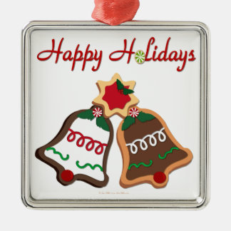 Happy Holidays Christmas Cookie Bells Square Metal Christmas Ornament