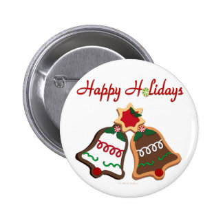 Happy Holidays Christmas Cookie Bells Pinback Button