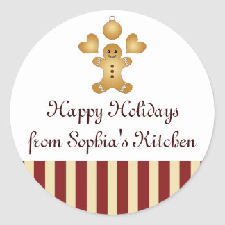 Happy Holidays - Christmas Cookie Design Homemade Classic Round Sticker