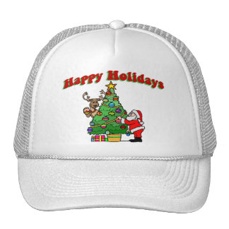 Happy Holidays Christmas Decorating Trucker Hat