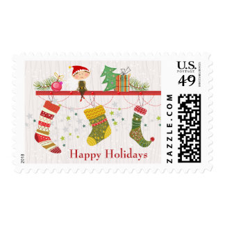 Happy Holidays Christmas elf on shelf & stockings Postage Stamp