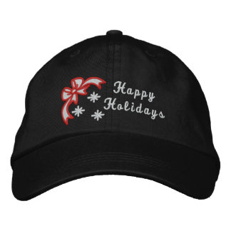 Happy Holidays christmas embroidered women's hat