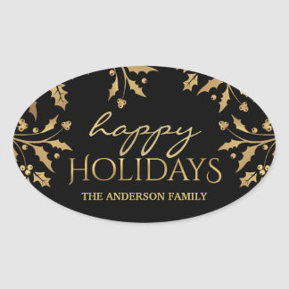 Happy Holidays Christmas Gold Holly Faux Foil Oval Sticker