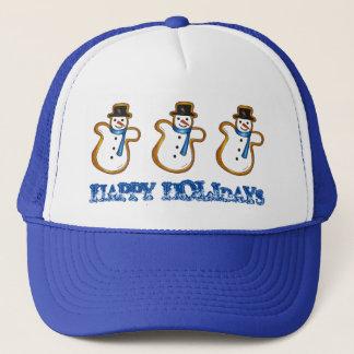 Happy Holidays Christmas Hanukkah Snowman Winter Trucker Hat