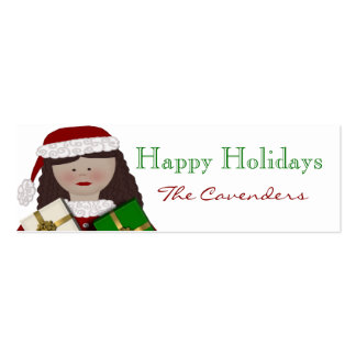 Happy Holidays Christmas Lady Gift Tags Mini Business Card