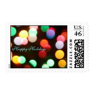 Happy Holidays Christmas Lights Postage Stamp stamp
