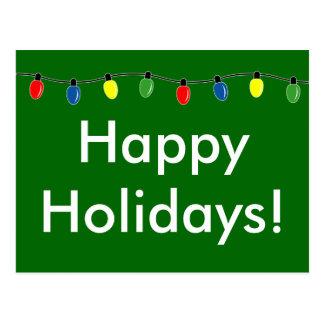 Happy Holidays Christmas lights postcards