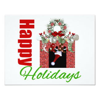Happy Holidays Christmas Mantle 4.25x5.5 Paper Invitation Card