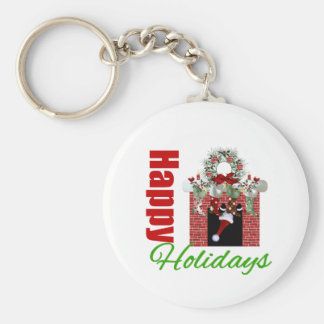 Happy Holidays Christmas Mantle Keychains