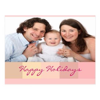 Happy holidays christmas new year family pink postcard