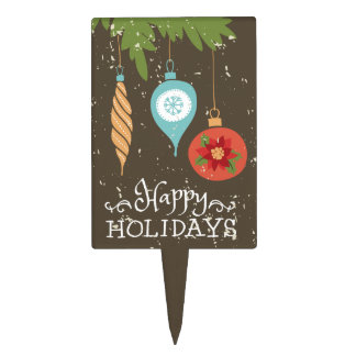 Happy Holidays Christmas Ornaments Decorative Cake Topper