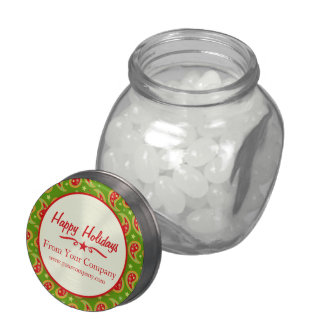 Happy Holidays Christmas paisley promo candy  jar Jelly Belly Candy Jar