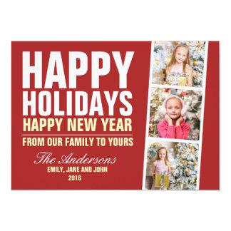 Happy Holidays Christmas Photo Card Bold