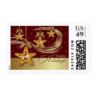 Happy Holidays. Christmas Postage Stamps