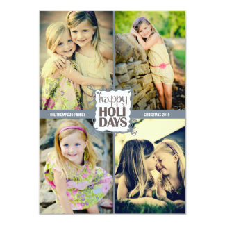 Happy Holidays Christmas Quad Photo Flat Card Personalized Announcements