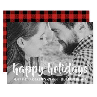 Happy Holidays Christmas Red Buffalo Gingham Card