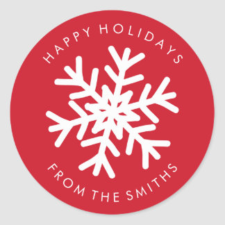 Happy Holidays - Christmas Red + White Label