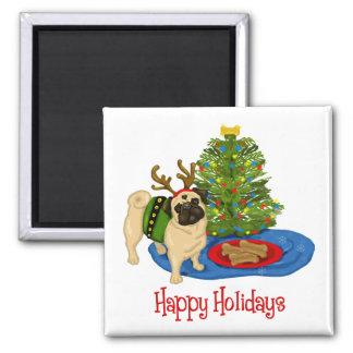 Happy Holidays Christmas Reindeer Pug Mugs Magnet