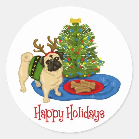 Happy Holidays Christmas Reindeer Pug Stickers