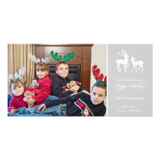 Happy Holidays Christmas Reindeer (Silver Gray) Photo Cards