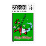 Happy Holidays Christmas Rock Guitar and Notes Stamp