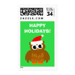 Happy Holidays Christmas Santa Claus owl stamps