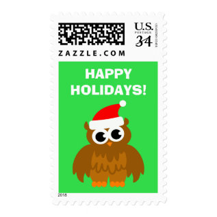 Happy Holidays Christmas Santa Claus Owl Stamps at Zazzle