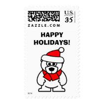 Happy Holidays Christmas Santa polar bear stamps