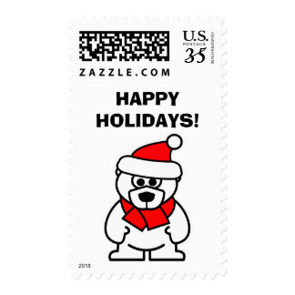 Happy Holidays Christmas Santa polar bear stamps