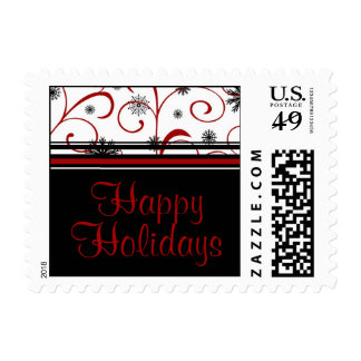 Happy Holidays Christmas Snowflake Stamps
