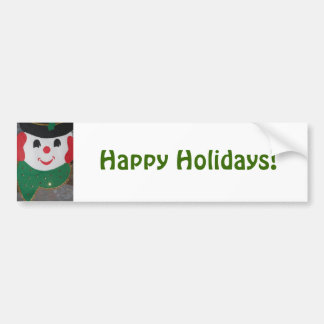 Happy Holidays Christmas Snowman Bumper Stickers
